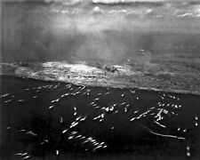 New 8x10 World War II Photo: 1st Wave of Landing Craft on Iwo Jima