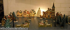 LOT VICTORIAN CHRISTMAS VILLAGE SET CATHEDRAL CHURCH INN TOY ANTIQUE SHOP TREES