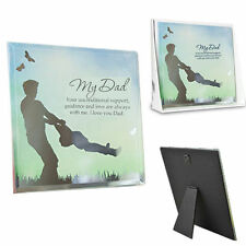 FATHER DAD GLASS MIRROR REFLECTING WALL PLAQUE GIFT WITH STAND MANTLE