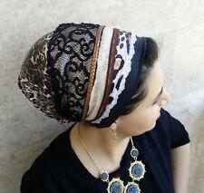 New Leopard print, leatherette Sinar tichel, Jewish head covering, hijab turban