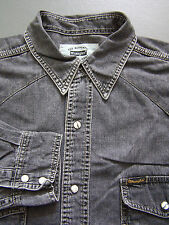 Wrangler Western Denim Shirt Men's Large Grey Pearl Snap Buttons Vintage LSHz457
