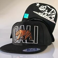 California Republic Snapback Hat Cali Bear Print Flat Bill Baseball Cap OSFM