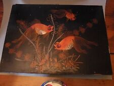ptg Japanese LACQUER HAND PAINTED KOI GOLDFISH PLAQUE, painting on panel