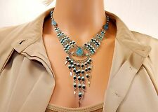 Turquoise & Beads Necklace, Teardrop Stones, Stainless Steel Chain, Danglers