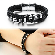 Men's Braided Genuine Leather Stainless Steel Cuff Bangle Bracelet Wristband AU