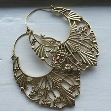 Tribal Deco Boho Floral Hook Earrings in Brass