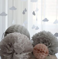 3 tissue paper Honeycombs and 10 PomPoms set - wedding party decorations