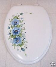 HP ROSES/TOILET SEAT/SOFT ELONGATED WHITE / BLUE ROSES