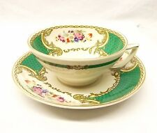 Vtg Myotts China Cup Saucer Set The Bouquet Green Gold Floral Staffordshire