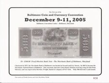 2005 Baltimore Coin Conv. Souvenir Card - $500.00 The Merchants Bank  - BLT21