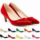Womens Low Mid Heels Shoes Leather Pointed Dress Work Pumps Shoes 6cm G1CG