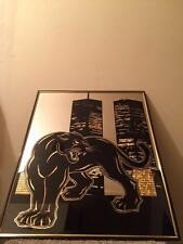 Black and gold twin towers New York panther foil art mirror rare image