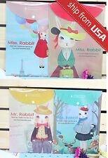 US Lot 4pcs Miss Rabbit A4 File Folder Document Organizer Bag cute Kawaii Office