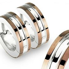 TWO TONE COFFEE EDGES STAINLESS STEEL HOOP HUGGIE EARRINGS HINGED SNAP