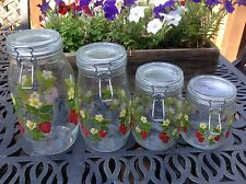 Vtg ARC Glass Storage Canisters Jar Cookie Wire Bale lid France Strawberry-Set 4