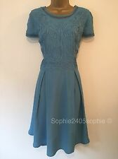 Reiss Size 12 Blue Beautiful Party Dress Brocade Front New Ex Reiss