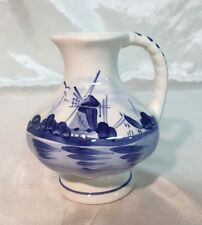 Royal Delft Blue & White Bud Round Flower Vase Pitcher Handle WINDMILL NEW