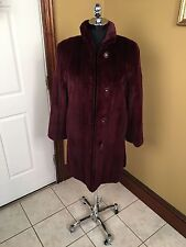 LUXURIOUS CASSIN NEW YORK DYED WINE RED SHEARED MINK FUR COAT JACKET STROLLER