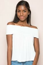 Brandy Melville white smocked off shoulder seymour top NWT sz S/M