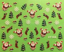 Nail Art 3D Glitter Decal Stickers Christmas Tree Santa Snowflakes Holiday XF368