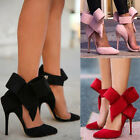 Womens Pointed Toe Stiletto ANKLE BOW High Heel Party Pumps Sandals Court Shoes