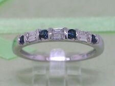 Saphir Ring 585 Weißgold 14Kt Gold Bandring Saphire und Baguette Diamanten