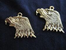 2 - Eagle Head Gold Bird Animal Lucky Charms Earrings - NEW