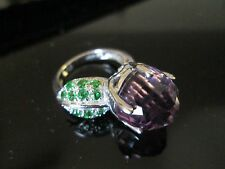 Vintage STERLING SILVER Ring*PURPLE ROUND FACETTED w green leaf*sz 5       *7308