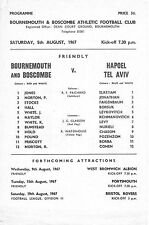Football Programme BOURNEMOUTH v HAPOEL TEL AVIV Aug 1967 Friendly