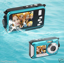 Digital Camera 24MP HD Waterproof 2.7inch TFT Screen Camcorder Selfie 1080P Blue