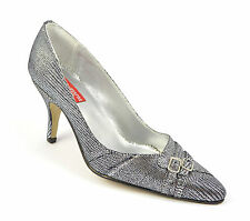 Womens Ladies Pointed Court Shoes Silver Pumps Buckle Inch Heel Size 3 4 5 6 7 8