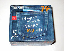 Five (5) Minidisc MAXELL Jeans Happy Music MD-74 '2002 (new and sealed)