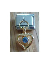Italian Charms Dangle  D34  Gold Heart  Blue Rhinestone