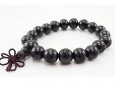 Long Tibetan 18 12mm Black Sandalwood Carved Buddha Prayer Bead Mala Bracelet 7""