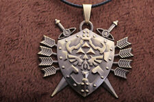 Legend of Zelda Link Hylian Shield Links Logo Metal Necklace / Pendant +chain A0