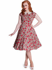 Hell Bunny 1940s Vintage Style Apple Print Dress With Crochet Collar S UK 10