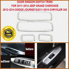 4x Chrome Car Interior Door Window Switch Cover Trim Kit For Jeep Grand Cherokee