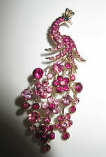 Pin Brooch Big Brilliant Pink Rhinestone Peacock and Flowers Beautiful NWT G178