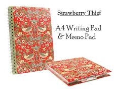 Strawberry Thief by William Morris | Art A4 Lined Writing Pad & Memo Pad Pen SET