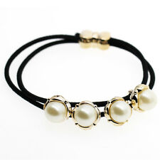 Black and White Gold Pearl Flowers Elastic Hair Band Wrap Accessories HA248