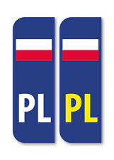 2 x PL Polish Flag Car Number Plate vinyl stickers