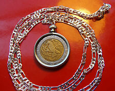 "Mexican Classic Coin Pendant on a 30"" .925 Sterling Silver Chain"