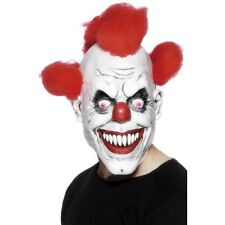 Unisex Adults 3/4 Clown Mask Hair Halloween Scary Circus Horror Accessory Prop