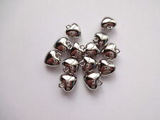 30x Puffed Heart Charms Pendants Silver Plated CCB 10mm  x 11mm