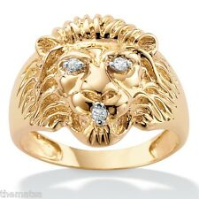 10K YELLOW GOLD MENS DIAMOND ACCENT LIONS  RING SIZE 9,10,11,12,13