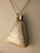 STERLING SILVER PERFUME BOTTLE CUT CHASED DESIGN PENDANT NECKLACE 925 SIGNED RM