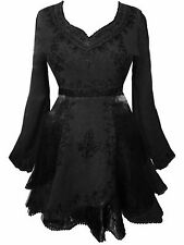 LONG BLACK EMBROIDERED MEDIEVAL PLUS SIZE BLOUSE TOP occult goth pagan 34 36