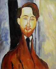 Modigliani's Leopold Zborowski Repro, Hand Painted Oil Painting, 9 1/8x10 3/4in