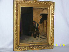 *August Kraus*Master German Listed Artist Original Oil On Wood c1883 Painting