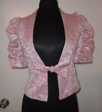 Betsey Johnson Pink Metallic Puff Sleeve Blazer Jacket Top PinUp Couture sz 2